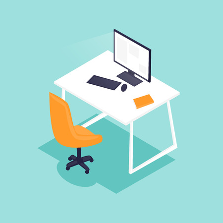 Office interior with desktop 3D, business workspace in the office. Workplace. Flat design vector illustration.