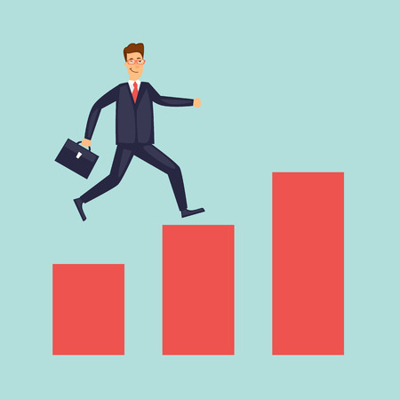 Businessman running up, growth. Flat design vector illustration. Illustration