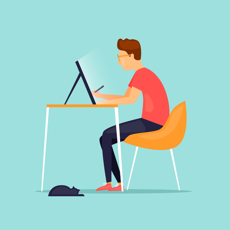 Illustrator draws on a tablet. Flat design vector illustration. Illustration