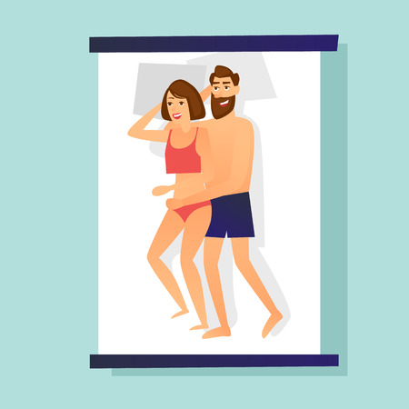 Couple lies in bed. Flat design vector illustration. Çizim