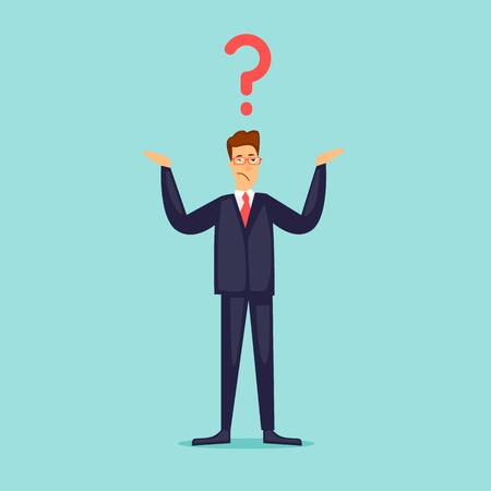 実業家は、彼の手の質問を広めます。疑問符。フラットなデザインのベクトル図です。