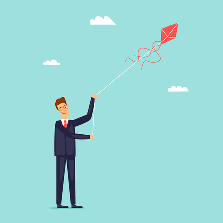 Businessman launches a kite. Flat design vector illustration. Illustration