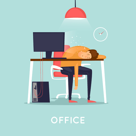 Lot of work, man fell asleep at the table. Flat design vector illustration.