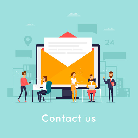 Contact us. Business people. Flat design vector illustration.