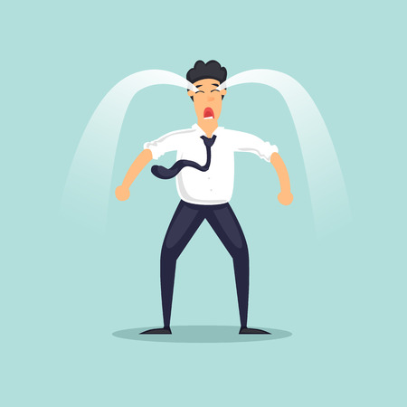 Businessman is crying. Trouble, emotions, failure. Flat design vector illustration.
