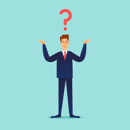 Businessman spreading his hands question. Question mark. Flat design vector illustration.