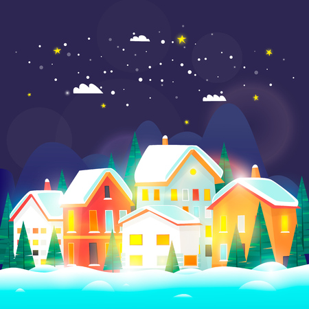 Winter city landscape. 2018. Merry Christmas and a Happy New Year. Urban with snow. Cityscape. Flat design vector illustration. Illustration