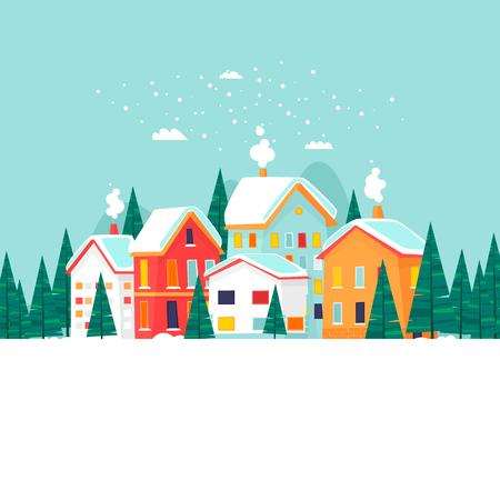 冬の風景。新年とメリー クリスマス。フラットなデザインのベクトル図です。 写真素材 - 88058127