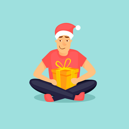 New Year Merry Christmas. Boy sits holding a gift, new year. Flat design vector illustration. Çizim