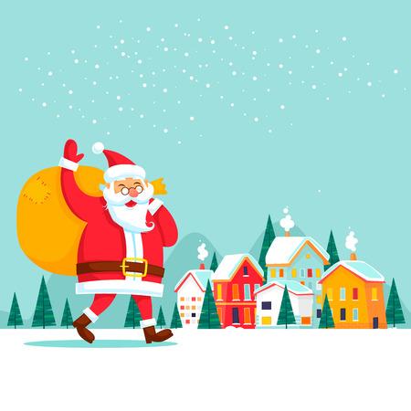 Santa Claus draagt geschenken, winter stad. Nieuwjaar Merry Christmas. Platte ontwerp vectorillustratie.
