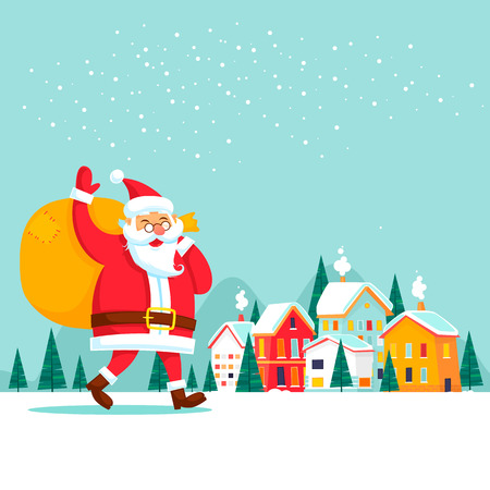 Santa Claus carries gifts, winter city. New Year Merry Christmas. Flat design vector illustration.