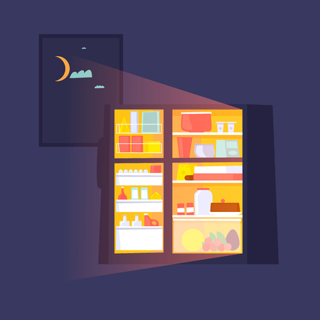 Fridge with food at night. Flat design vector illustration. Ilustracja