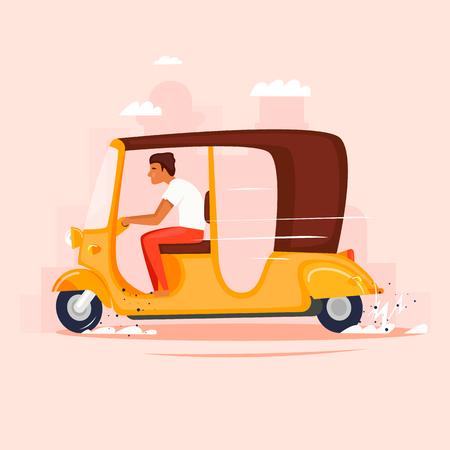 Riksja. Bromfiets, taxi. Platte ontwerp vectorillustratie.