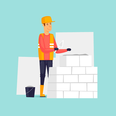 Builder, laying bricks. Flat design vector illustration.