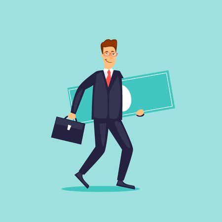 Businessman carries money. Flat design vector illustration.