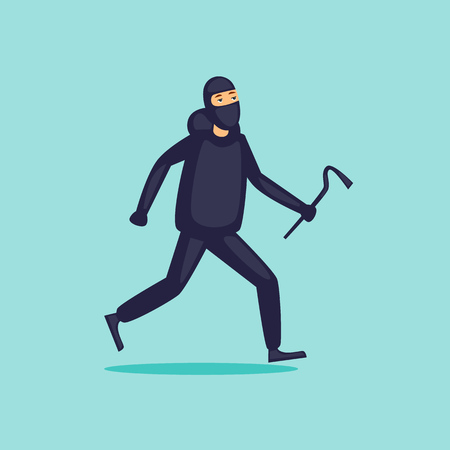 Thief runs. Flat design vector illustration. Иллюстрация
