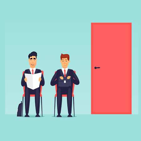 Interviewen, zoeken naar werk, zakenmensen zitten aan de deur. Platte ontwerp vectorillustratie.