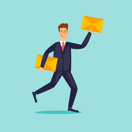 Businessman is carrying a letter. Flat design vector illustration.