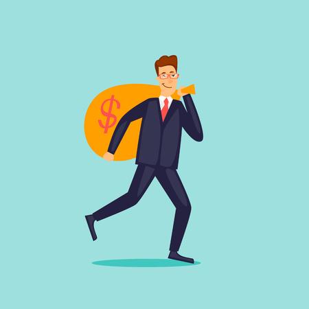 Businessman carries a bag of money. Flat design vector illustration.