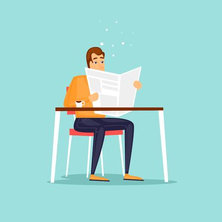 Guy sitting reading a newspaper cafe. Flat design vector illustration.