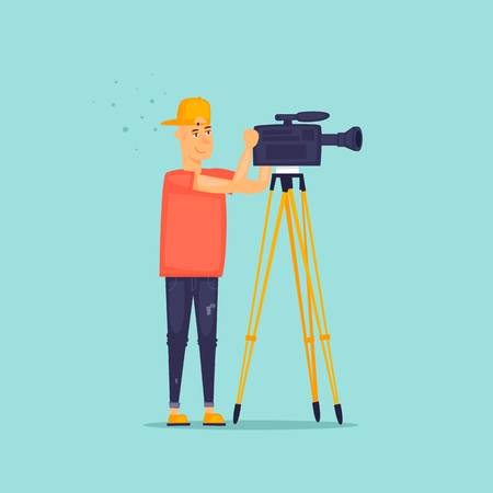 Video shooting. Guy shoots at the camera. Flat design vector illustration.