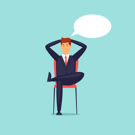 Businessman dreams. Flat design vector illustration. Çizim