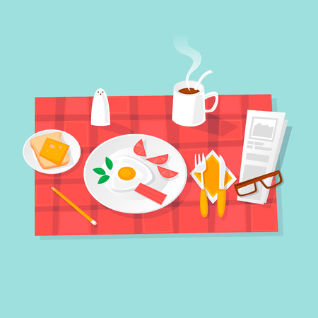 Breakfast. Fried eggs, coffee, salt, toast. Flat design vector illustration. Illustration