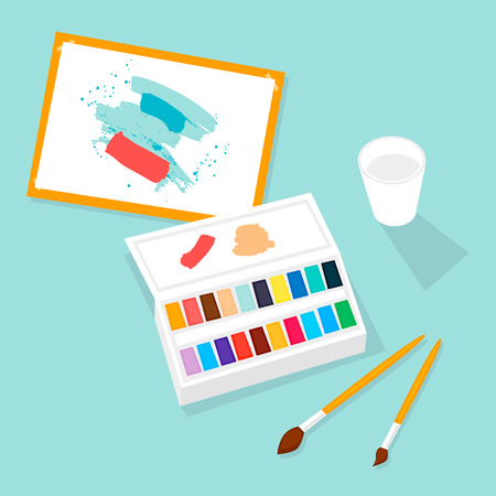 Watercolor paint, brush, palette, art, draw. Flat design vector illustration.