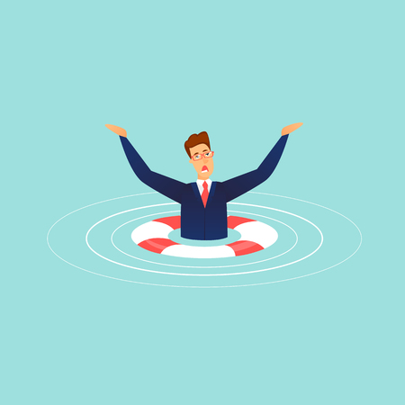 Sinking businessman. Lifebuoy. Flat design vector illustration.