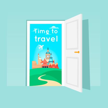Time to travel. Opened door. Flat design vector illustration. Ilustração
