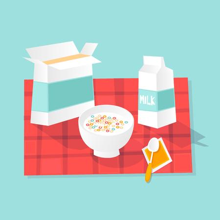 Desayuno seco Leche y copos Ilustración de vector de diseño plano. Foto de archivo - 89700734