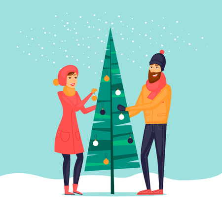 Couple decorates a Christmas tree. Character. Merry christmas and a happy new year. Flat design vector illustration.