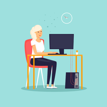 Secretary. Girl sitting at the computer, office, work. Flat design vector illustration. Illustration
