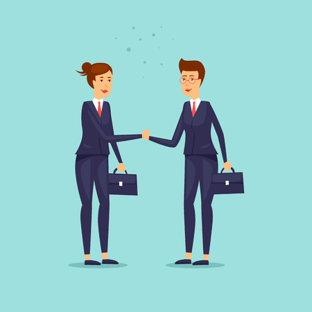 Business Lady shaking hands. Woman and a woman. Flat design vector illustration.