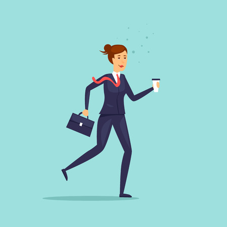Business lady hurries to work. Character. Flat design vector illustration.