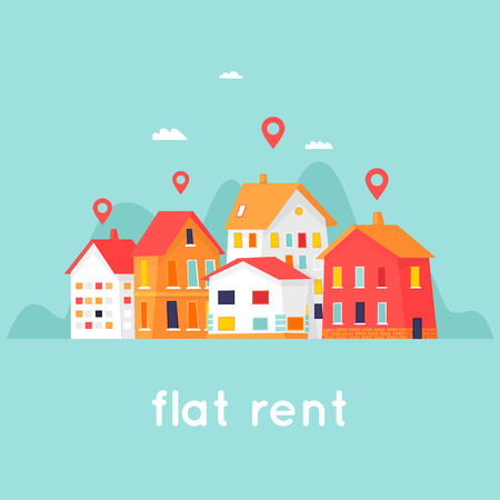 Rental of property. Cityscape. Flat design vector illustration.