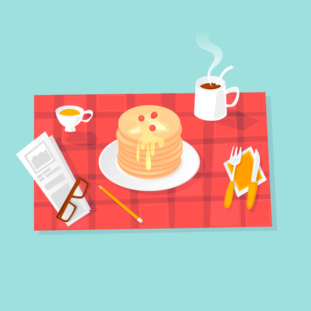 Breakfast pancakes with honey. Flat design vector illustration.