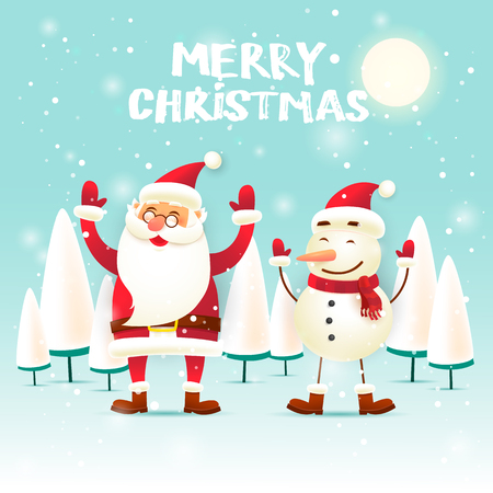 Merry Christmas and Happy new year. Santa Claus and snowman. Flat design vector illustration.