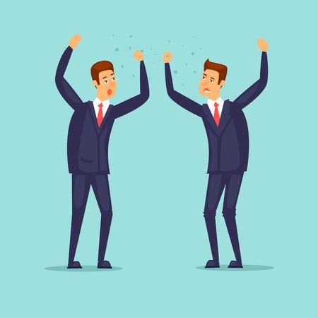 Businessmen scream at each other. Flat design vector illustration.