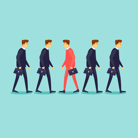 Businessman is going the other way. Business vision, leadership. Flat design vector illustration.