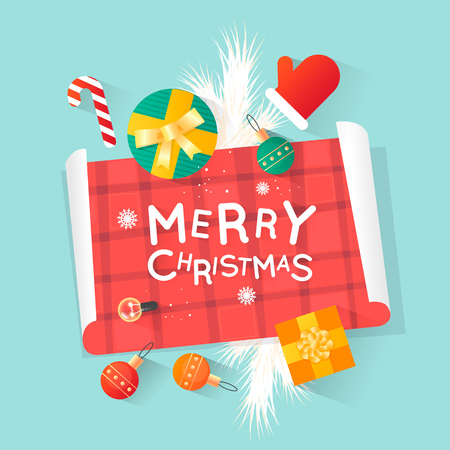 Merry Christmas and Happy New Year. New Years toys, gifts on the table top view and text. Postcard, banner, printed matter, greeting card. Flat design.
