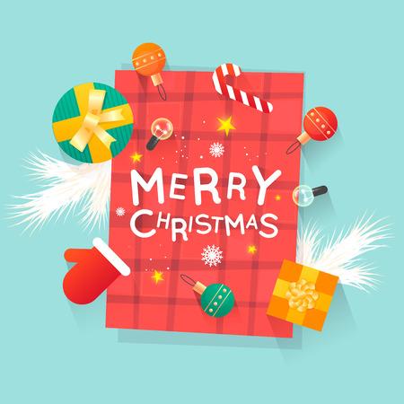Frohe Weihnachten und ein glückliches Neues Jahr. Die Spielwaren des neuen Jahres, Geschenke auf der Tischplatteansicht und Text. Postkarte, Banner, Drucksachen, Grußkarte. Flaches Design. Standard-Bild - 88701521