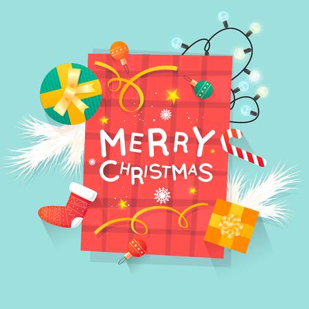 Vrolijk kerstfeest en een gelukkig nieuwjaar. Het speelgoed van het nieuwjaar, giften op de mening van de lijstbovenkant en tekst. Briefkaart, banner, drukwerk, wenskaart. Plat ontwerp.