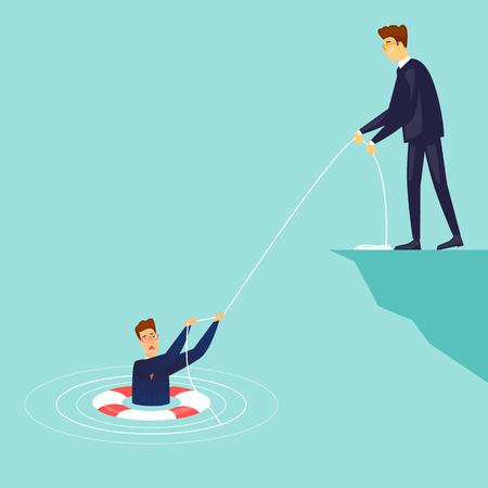 Businessman saves the drowning man. Flat design vector illustration. Illustration