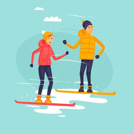 Couple riding snowboards, winter sports. Flat design vector illustration.