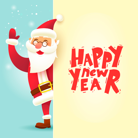 Merry Christmas and Happy new year. Santa Claus with big signboard. Flat design vector illustration.