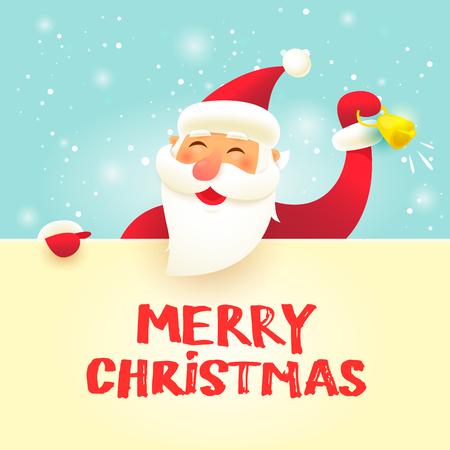 メリー クリスマスと幸せな新年。大きな看板とサンタ クロース。フラットなデザインのベクトル図です。 写真素材 - 88701529