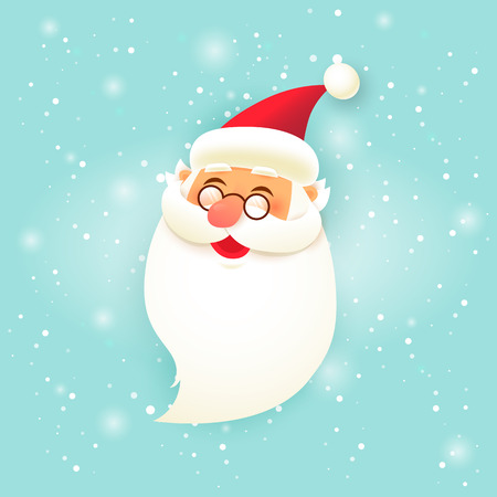Merry Christmas and Happy new year. Santa Claus head. Flat design vector illustration. Ilustrace