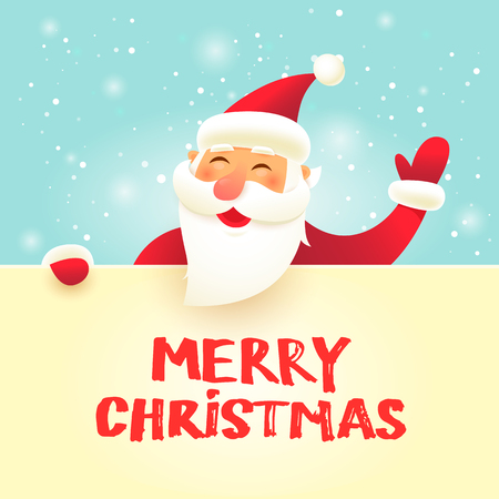 Merry Christmas and Happy new year. Santa Claus with big signboard. Flat design vector illustration. Stok Fotoğraf - 89272118