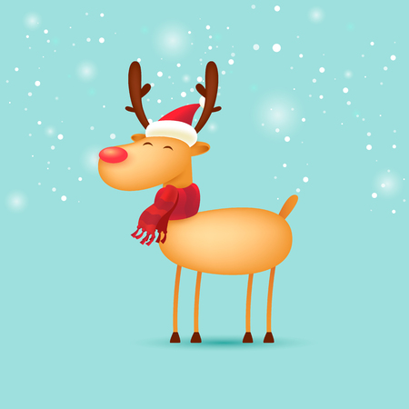 Deer. Merry Christmas and Happy new year. Flat design vector illustration. Ilustração